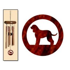Irish Water Spaniel Wind Chimes X-SMALL Bronze. These beautiful Irish Water Spaniel wind chimes make a delightful gift for the Irish Water Spaniel lover in your life.  Dog windchimes make a thoughtful and musical birthday gift, mothers day gift, anniversary gift or Christmas gift.  The X-Small size produces light and peaceful tones when the wind blows.