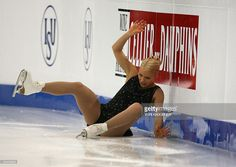 Finland's Kiira Korpi falls while performing her free program at the Hartwall Areena in Helsinki, on January 24, 2009, during the European Figure Skating Championships.