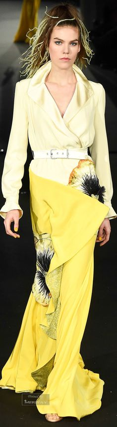 Alexis Mabille ~ Couture 2 Tone Yellow Wrap Skirt Maxi Dress Spring2015