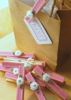 Last Set - Designer clothespins - set of 10 - baby pink crystal rhinestone flowers decorated clothespins baby shower favors Cadeau Baby Shower, Baby Shower Gifts, Homemade Gifts, Diy Gifts, Unique Gifts, Wrapping Ideas, Gift Wrapping, Diy And Crafts, Paper Crafts