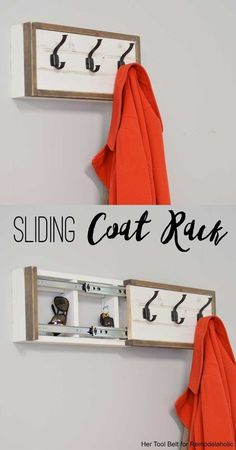 Build a Wall Coat Rack with Hooks and Hidden Storage Build a farmhouse style coat rack with a secret compartment to hide small items. Wall Storage, Diy Storage, Diy Hidden Storage Ideas, Bedroom Storage, Storage Hooks, Storage Design, Storage Baskets, Do It Yourself Sofa, Secret Hiding Places