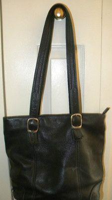 $9.99 Tignanello Soft Black Genuine Leather Purse 2 Handles
