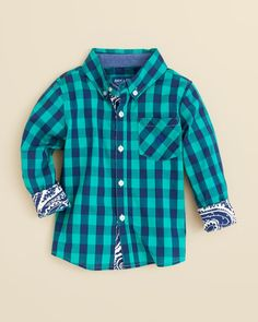Andy & Evan Boys' Check Button Down Shirt - Sizes 2T-4T