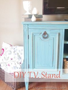 TV Stand From A Buffet (A Tutorial)....I'd pinned the photo.  Now I know how she did it!