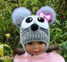 No tutorial Rocio Elena Crochet Animal Hats, Crochet Kids Hats, Crochet Beanie Hat, Crochet Mouse, Baby Hats Knitting, Loom Knitting, Baby Knitting Patterns, Knitted Hats, Crochet Patterns