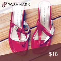 Marc Fisher Patent Leather Sandals Marc Fisher Patent Leather Sandals in Firehouse Red. Cushion insoles. Perfect kitten heel for easy walking. Shoes Sandals