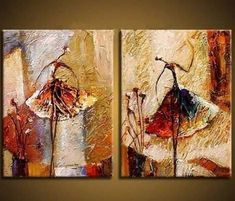 2 Piece Canvas Art Ballet Dance Modern Art Hand Painted Oil Painting on Canvas Wall Art Deco Home Decoration (Unstretch No Frame) Oil Painting Abstract, Abstract Wall Art, Hand Painting Art, Canvas Wall Art, Acrylic Paintings, Painting Canvas, Artwork Wall, China Painting, Art Ballet