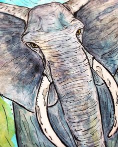 elephant, art, watercolor, illustration, draw, colors, animal, grey