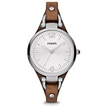 Fossil Women's Georgia Three Hand Tan Leather Strap Watch: The round face of this watch is boyfriend-inspired, but the slim leather strap makes it perfectly feminine. This Georgia watch also features a three hand movement. Brown Leather Strap Watch, Tan Leather, Yellow Leather, Georgia, Boyfriend Look, Fossil Boyfriend, Boyfriend Watch, Boyfriend Blazer, Bracelets Fins