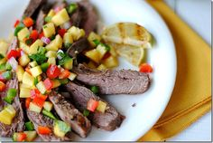 Flank steak with peach salsa - very good way to use up all those delicious jersey peaches. I used a jersey long hot instead of  jalapeno (because that is what I had on hand) - rub was a little too sweet for us, but can be easily altered. I recommend! :)