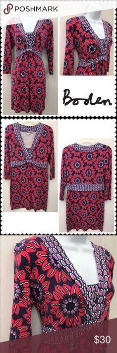 "BODEN Floral Print Stretch Dress UK 14 US 10 BODEN DRESS  •3/4 Sleeves •Stretch Knit Fabric •Blue, Red, Purple Floral Print •Empire Waist •Size: UK 14 US 10 •95% Viscose, 5% Spandex Measures: 18"" across chest, 35"" shoulder to hem Boden Dresses Midi"