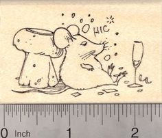 Happy New Year Mouse drinking Champagne Rubber Stamp -- Read more reviews of the product by visiting the link on the image.