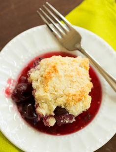 Cherry cobbler Made it with half Bing cherries, half Rainier cherries, and it was delightful!