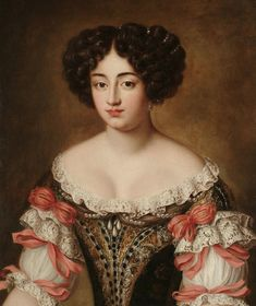 Maria Mancini, bust-length, in a brown embroidered dress with lace trim and pink bows by follower of Jacob Ferdinand Voet (auctioned by Bonhams)