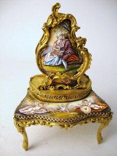 Austrian enameled bronze vanity w/music box, 5 1/2 t