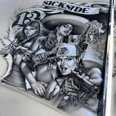 Badass airbrush mural! Lettrage Chicano, Chicano Love, Chicano Tattoos, Gangster Tattoos, Payasa Tattoo, Tattoo Flash, Tattoo Drawings, Devil Tattoo, Art Tattoos