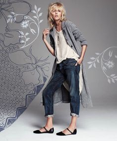 Inspiration for: BF jeans with slouchy tee and a duster.