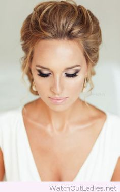 Nude and black wedding eye makeup