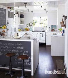 beach house kitchen. chalkboard island + vintage appliances | Erin Martin Design