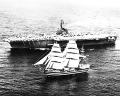 """uss-edsall: """"While sailing in the Mediterranean sea, in 1962, the American aircraft carrier USS Independence (CV-62) flashed the Italian Amerigo Vespucci with light signal asking «Who are you?», the full rigged ship answered «Training ship Amerigo..."""