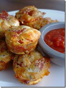 Pepperoni Pizza Puffs I do believe that these will be yummy with our raviolis tonight :)