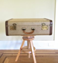 tweed suitcase / mid century luggage / by thespectaclednewt, $84.00