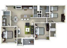 Tramonti 3 bedroom 3D floor plan #theamalfi www.amalficlearwater.com