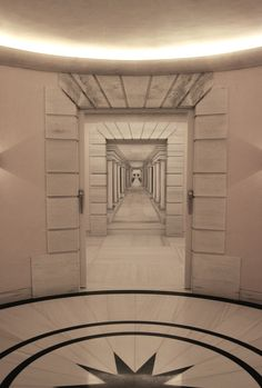 A trompe l'oeil mural of a passage using perspective to creative an illusion of depth. by Richard Bagguley http://www.art-richardjbagguley.com/