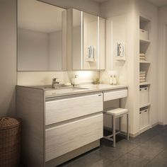 Washroom, Bathroom Wall, Dressing Table Design, Beauty Room, Bathroom Interior Design, Smart Home, Powder Room, Double Vanity, Building A House