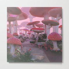 Mushroom Forest Metal Art Print by Nekema - LARGE