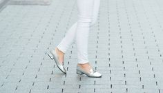 black and white outfit with metallic accessories