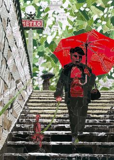 """Metro"" Graphic/Illustration by Anastassia Elias posters, art prints, canvas prints, greeting cards or gallery prints. Find more Graphic/Illustration art prints and posters in the ARTFLAKES shop. Paper Collage Art, Paper Art, Collage Illustration, Illustrations, Magazine Collage, Virtual Art, Collage Making, Paperclay, Mixed Media Collage"