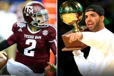 "There's another development in the very public bromance between rapper Drake and quarterback Johnny Manziel: Drake's ""Draft Day,"" a song dedicated to Johnny Manziel. College Football Players, Football Helmets, Johnny Manziel, Browns Fans, Mississippi State, Texas A&m, Cleveland Browns, Jay Z, Drake"