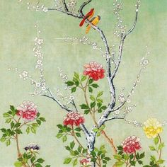 Pack of eight notecards illustrated with a panel of painted Chinese wallpaper.  Priced at £4.99