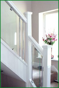 Bedford Redwood Metal and Glass Staircase