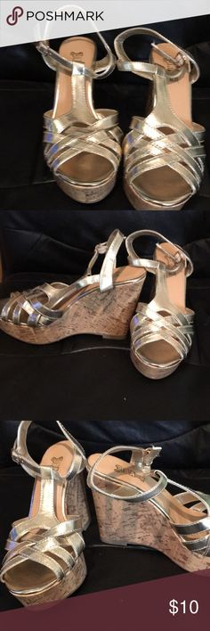 Brash gold wedges Never worn. I have the box but it's been smashed from being in a box in storage. Size 8. Really cute for dresses brash Shoes Wedges