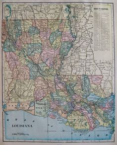 Antique Louisiana State Map Vintage Map Of Louisiana With - Us map of louisiana