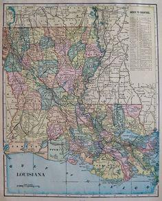 1900 LOUISIANA MAP Vintage Map of Louisiana Gallery Wall Art #1885