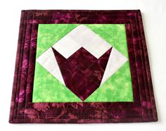 Quilted Trivet, Spring Hot Pad, Insulated Fabric Trivet, Tulip Candle Mat, Quiltsy Handmade by RedNeedleQuilts on Etsy