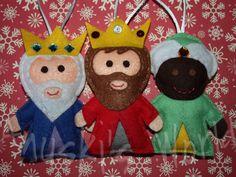 muñecos reyes magos, reyes magos fieltro, reyes magos arbol, figuras reyes magos
