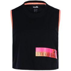 Stella McCartney Black Aeroknit Tank Top (135 BRL) ❤ liked on Polyvore featuring tops, black, adidas jerseys, crop tank, sleeveless tank, jersey tank and jersey tank top