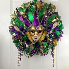 Mardi Gras Deco Mesh Wreath, Fat Tuesday, ,Mardi Gras wreath, festive wreath, Beautiful Mardi Gras Deco Mesh Wreath, Fat Tuesday by RhondasCre8iveCorner on Etsy