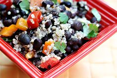 Black bean, quinoa and red pepper salad with honey-lime vinaigrette: perfect picnic food.