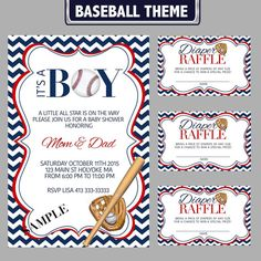 Baseball Theme Baby Shower Invitation And Diaper By JuneStarDesign