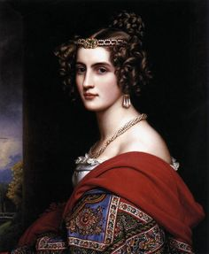 This is Amalie von Schintling, one of the most beautiful aristocratic women of her time. We are precisely in 1831and this is an oil painting by J.K.Stieler found at the Schloss Nymphenburg, Munich.