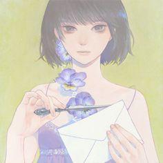 「手紙」紺野真弓 Mayumi Konno2015273x273mmキャンバスにアクリル Acrylic on Canvas