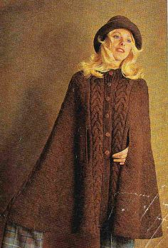 Pdf knitting pattern ladies retro cape in aran or dk wool vintage ladies cable panel knitted cape for by englishcrochet dt1010fo