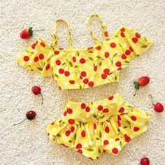 Bright Yellow Cherries Kids #Swimwear. buy this gorgeous swimwear for your little angel only on babycouture.