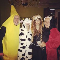 Pin for Later: 35 Epic Emoji Costume Ideas Straight From Your Smartphone Banana, Cow, Tiger, and Lady Beetle Emoji