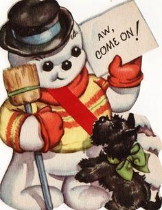 Vintage Scottie & Snowman Christmas Card
